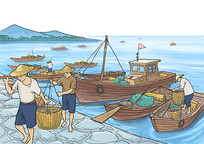码头渔船插画 PSD