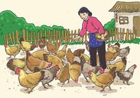 农妇喂鸡插画 PSD