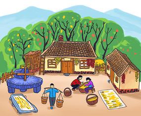 农家院插画