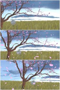 秋天桃树桃花花瓣纷飞枯藤老树昏鸦视频