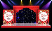 奢华红色主题婚礼婚庆舞台迎宾区背景 PSD