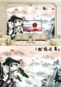 松鹤延年中式电视背景墙