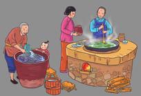 腌酸菜腌酱菜插画