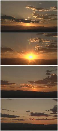 太阳西下延时摄影实拍素材