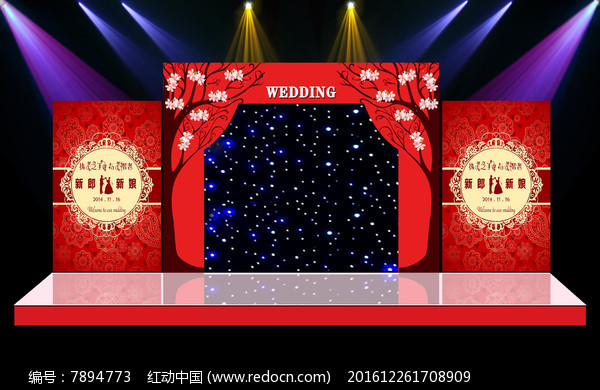 唯美大气红色主题奢华舞台迎宾区背景图片