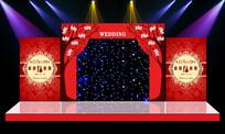 唯美大气红色主题奢华舞台迎宾区背景 PSD