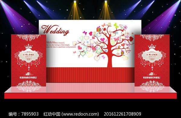 唯美大气红色主题舞台迎宾区背景图片
