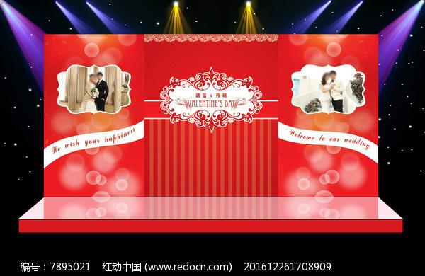 唯美红色主题婚礼迎宾区主舞台背景图片