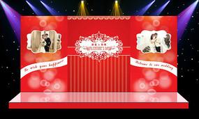 唯美红色主题婚礼迎宾区主舞台背景
