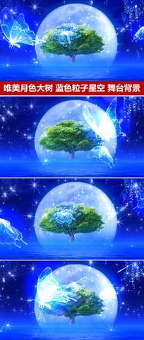 唯美月色大树粒子星空光效蝴蝶飞舞