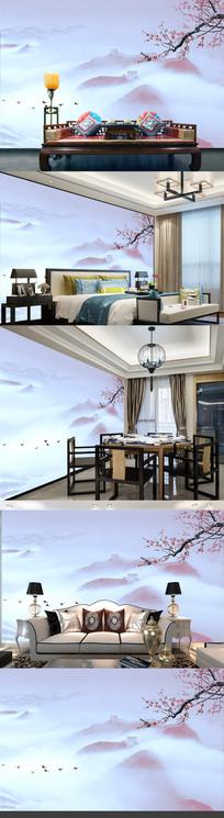 新中式抽象长城山水梅花背景墙卧室装饰壁画下载
