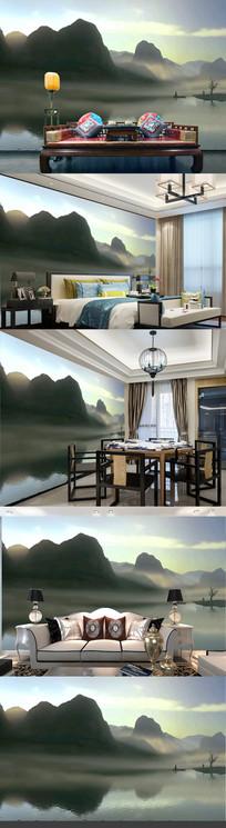 新中式梦幻水墨山水风景画电视背景墙模板