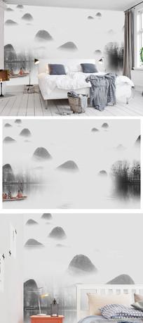 新中式水墨山水风景意境烟雾背景墙