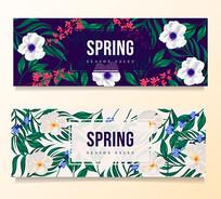 折扣标签花叶子春天素材背景 AI