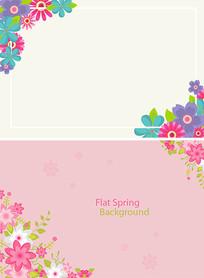 边角花纹边框春天背景素材
