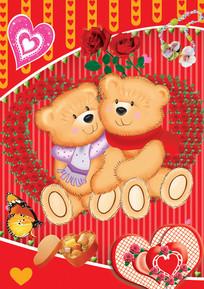 可爱的情侣小熊图案psd