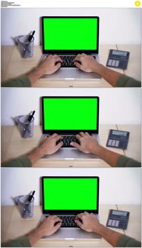 笔记本键盘打字绿屏抠像视频素材