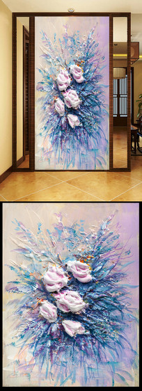 抽象立体花油画 JPG
