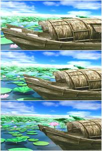 江南水乡荷塘池塘渔船小船划走开走视频