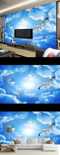 蓝天白云白鸽唯美电视背景墙