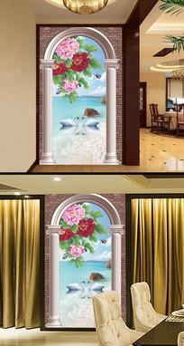 罗马柱客厅牡丹花天鹅湖玄关图片图片