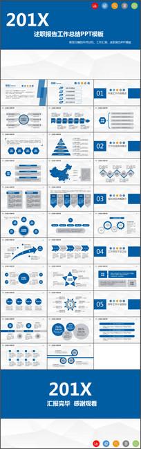 完整框架蓝色经典述职总结工作计划PPT模板