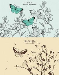 蝴蝶插画墙纸背景