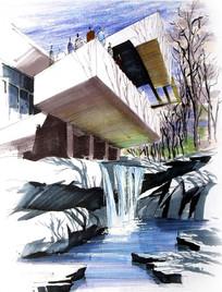 现代建筑流水手绘