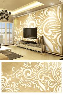 金色3d浮雕抽象欧式花纹电视背景墙