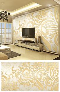 金色抽象欧式花纹大马士革电视背景墙