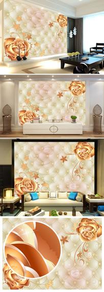 欧式软包玫瑰花客厅电视背景墙图片