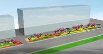 园林道路绿化效果图 PSD