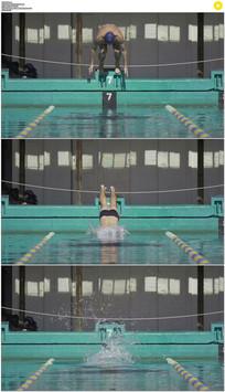 运动员跳水慢镜头实拍视频素材