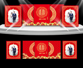 中式大红色婚礼背景板