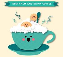 咖啡杯泡沫曲奇饼卡通矢量素材 AI