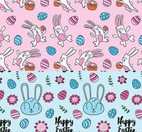 可爱兔子鸡蛋复活节装饰图案