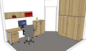 木质书柜书房空间模型