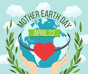 手棒绿色地球环保海报矢量素材