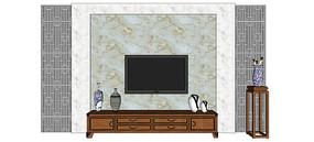 灰色系中式电视背景模型