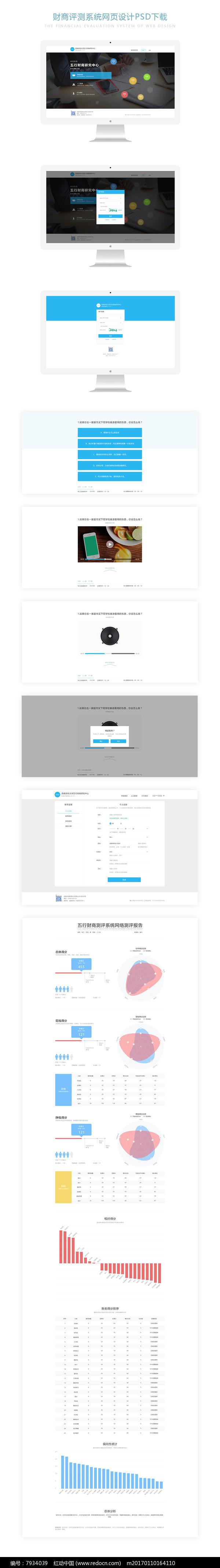 简洁大气财商评测系统网站网页设计psd下载图片