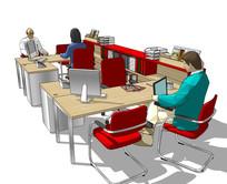 精美办公图书室桌椅空间