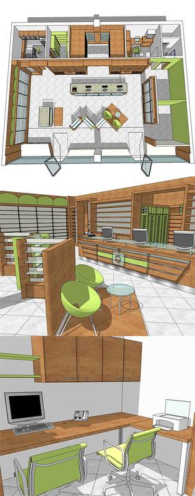 精美的办事大厅桌椅整体空间