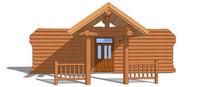 木屋建筑门模型