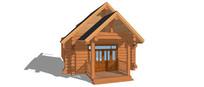 木屋入口木门模型
