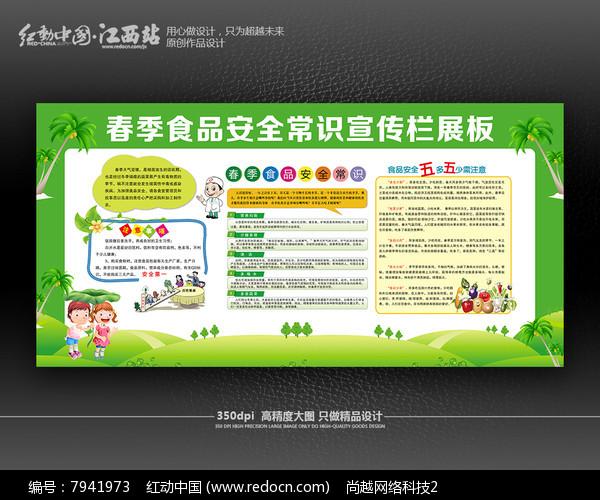 清新风食品安全常识宣传栏展板图片