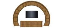 圆形电视柜及背景模型