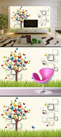 3D立体方框蝴蝶树电视背景墙