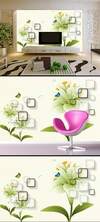 3D立体手绘蝴蝶百合花电视背景墙