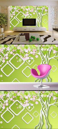 3D时尚梦幻方框花树电视背景墙