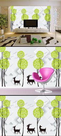 3D现代简约麋鹿方块抽象树飞鸟背景墙